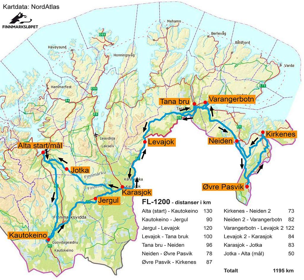 mål distanse på kart Øker til 1200 km – Hundekjøring mål distanse på kart